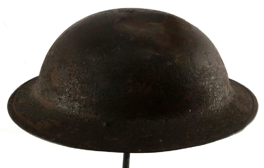 WWI BRITISH BATTLE DAMAGED STEEL BRODIE HELMET - 4