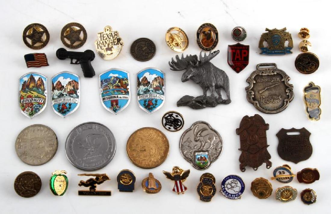 WINCHESTER FOB INSPECTOR BADGE & OTHER PIN LOT