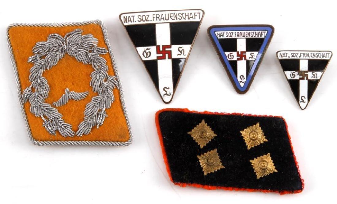 2 GERMAN WWII COLLAR TABS & 3 FRAUENSCHAFT BADGES
