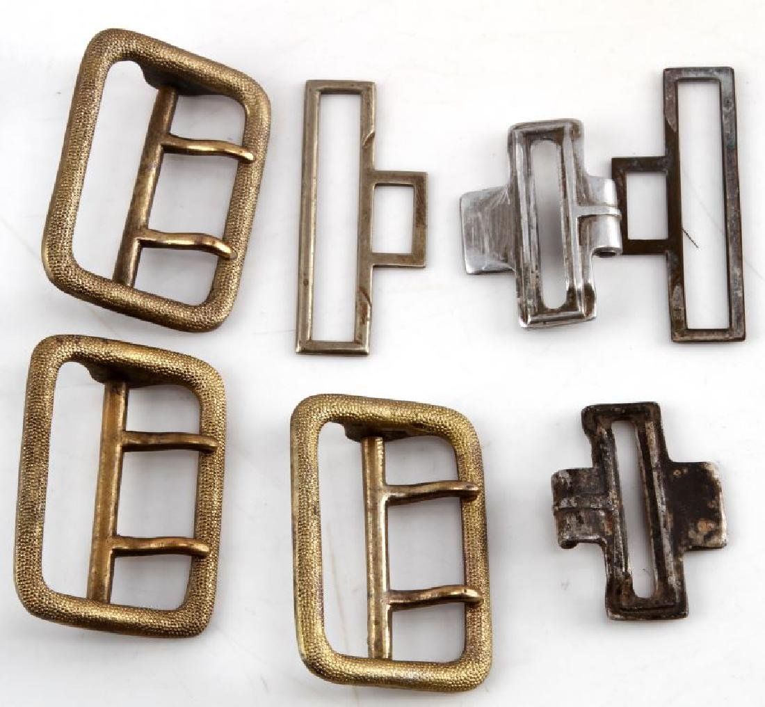3 GERMAN WWII OFFICER BELT BUCKLES & 4 BELT PARTS