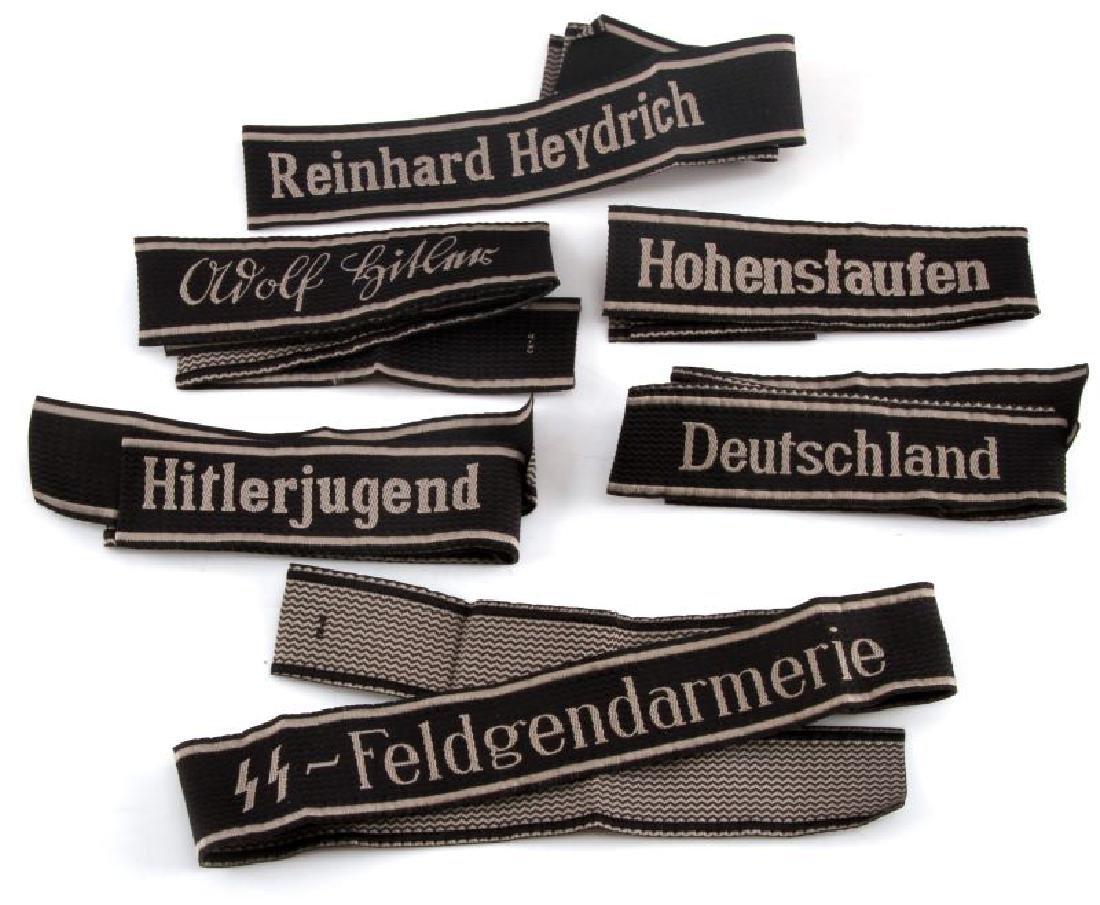 6 GERMAN WWII WAFFEN SS CUFF TITLES FULL LENGTH