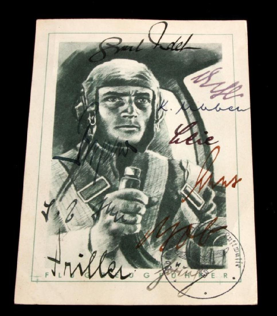 WWII GERMAN 3RD REICH SIGNED LUFTWAFFE PILOT CARD