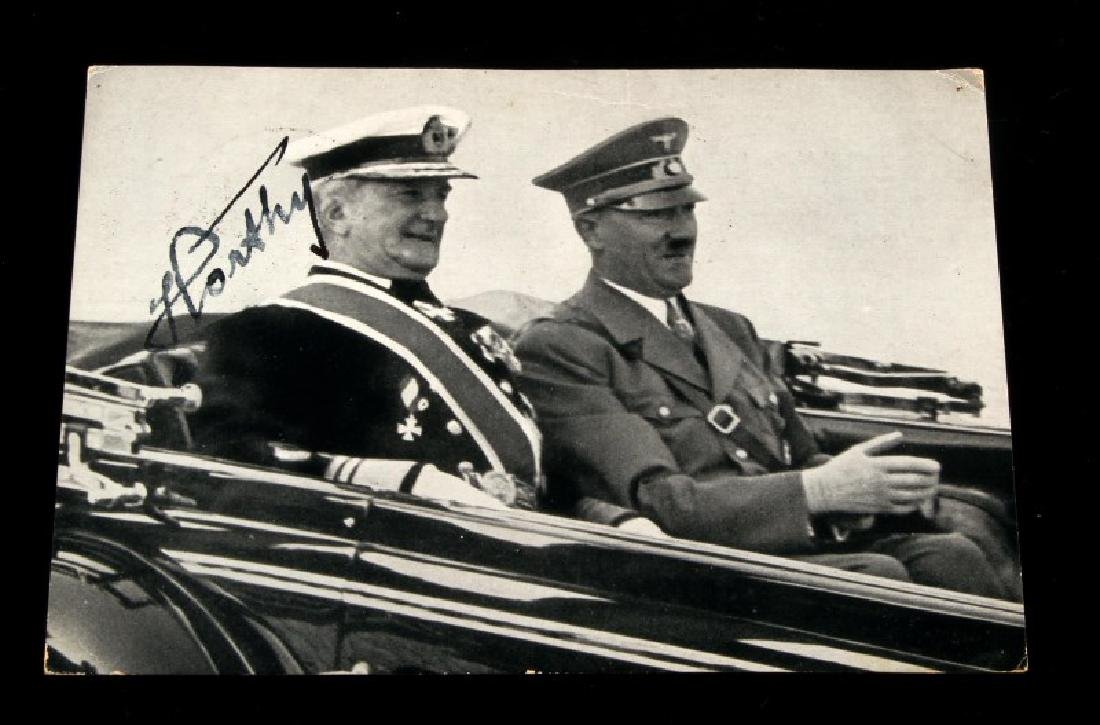 GERMAN WWII SIGNED POSTCARD ADMIRAL HORTHY HITLER