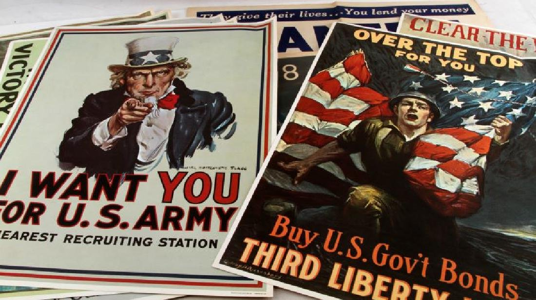 WWI WWII US MILITARY RECRUITING AND BOND POSTER - 3