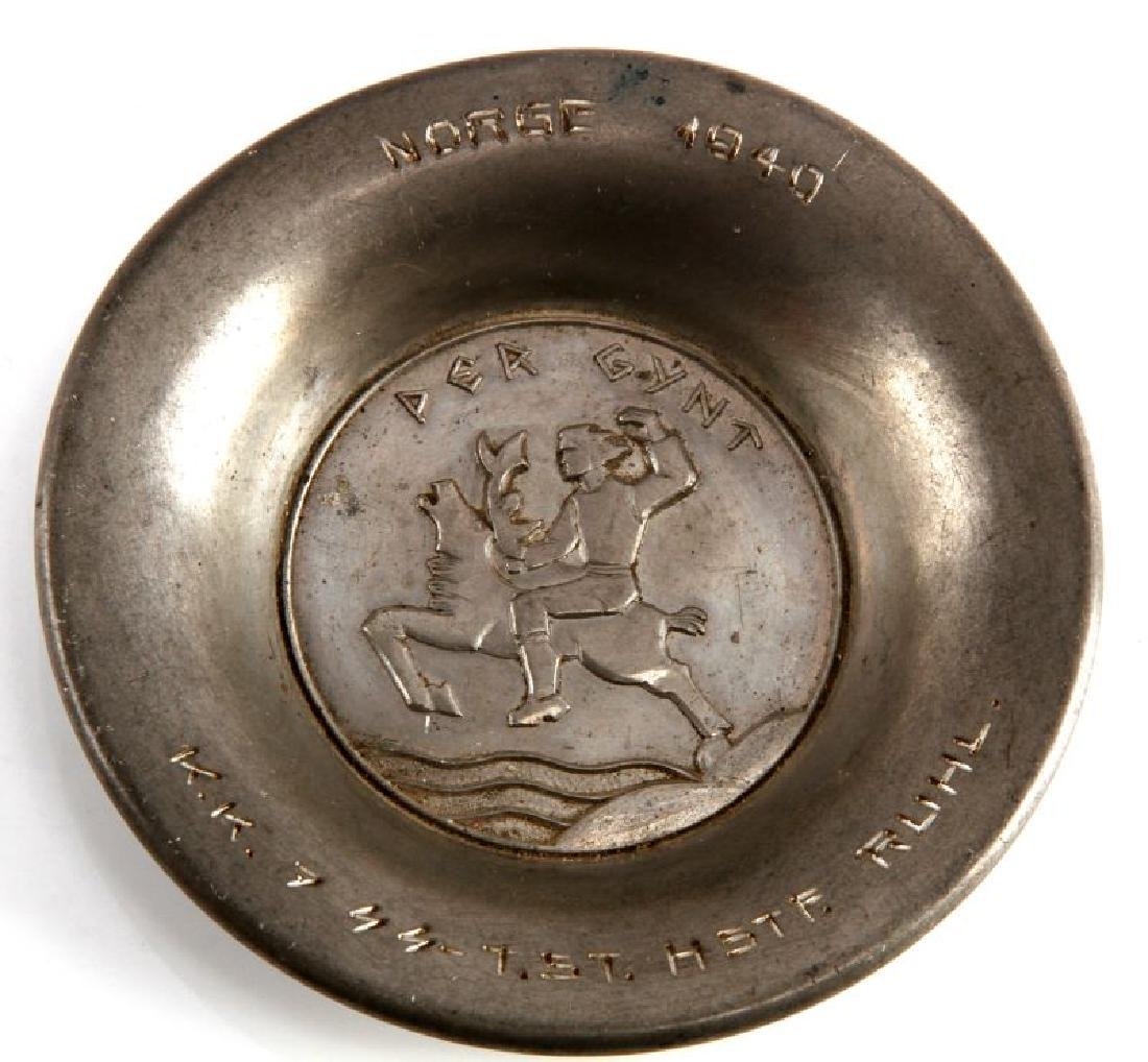 WWII GERMAN THIRD REICH SS NORGE 1940 PEWTER DISH - 2