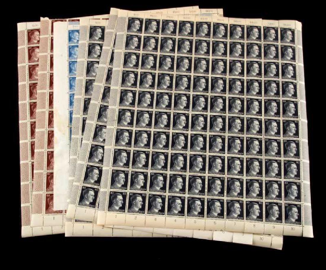 7 SHEET GERMAN WWII ADOLF HITLER HEAD STAMP LOT