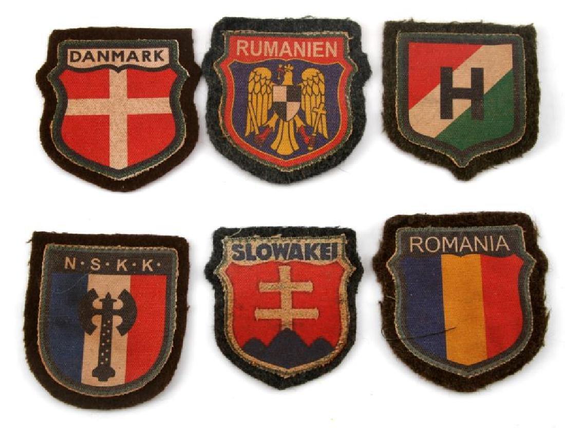 6 GERMAN WWII EUROPEAN VOLUNTEER SLEEVE PATCHES