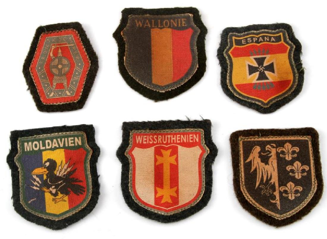 6 GERMAN WWII EUROPEAN VOLUNTEER SLEEVE PATCH LOT