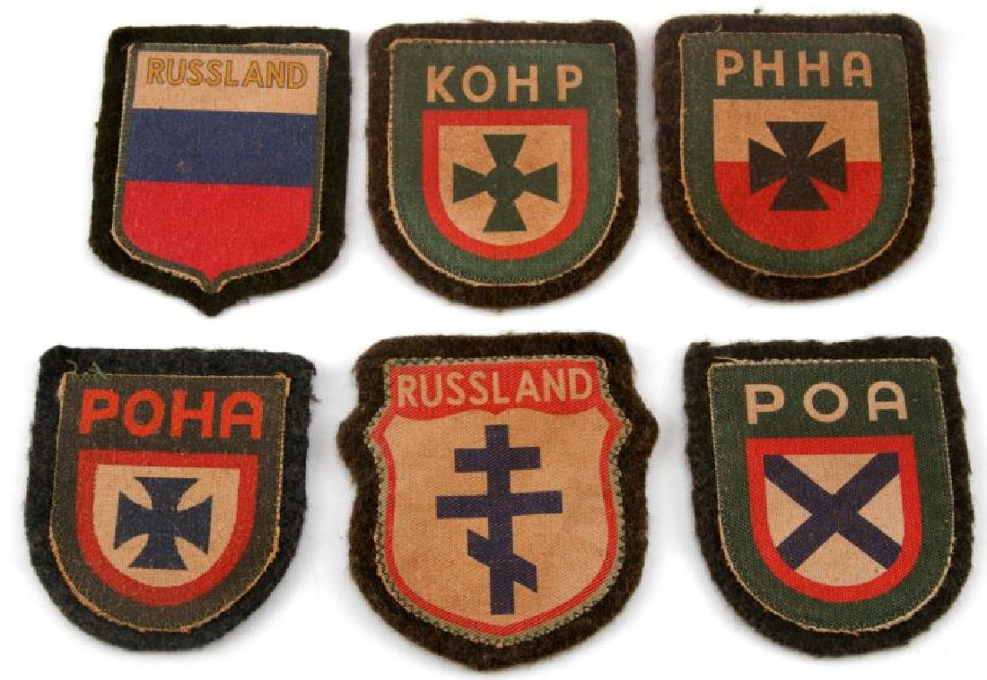 6 GERMAN WWII RUSSIAN VOLUNTEER SLEEVE PATCH LOT