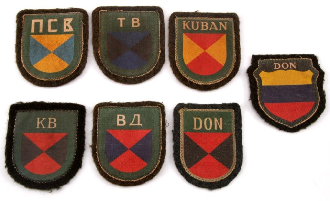 7 GERMAN WWII RUSSIAN COSSACK VOLUNTEER PATCH LOT