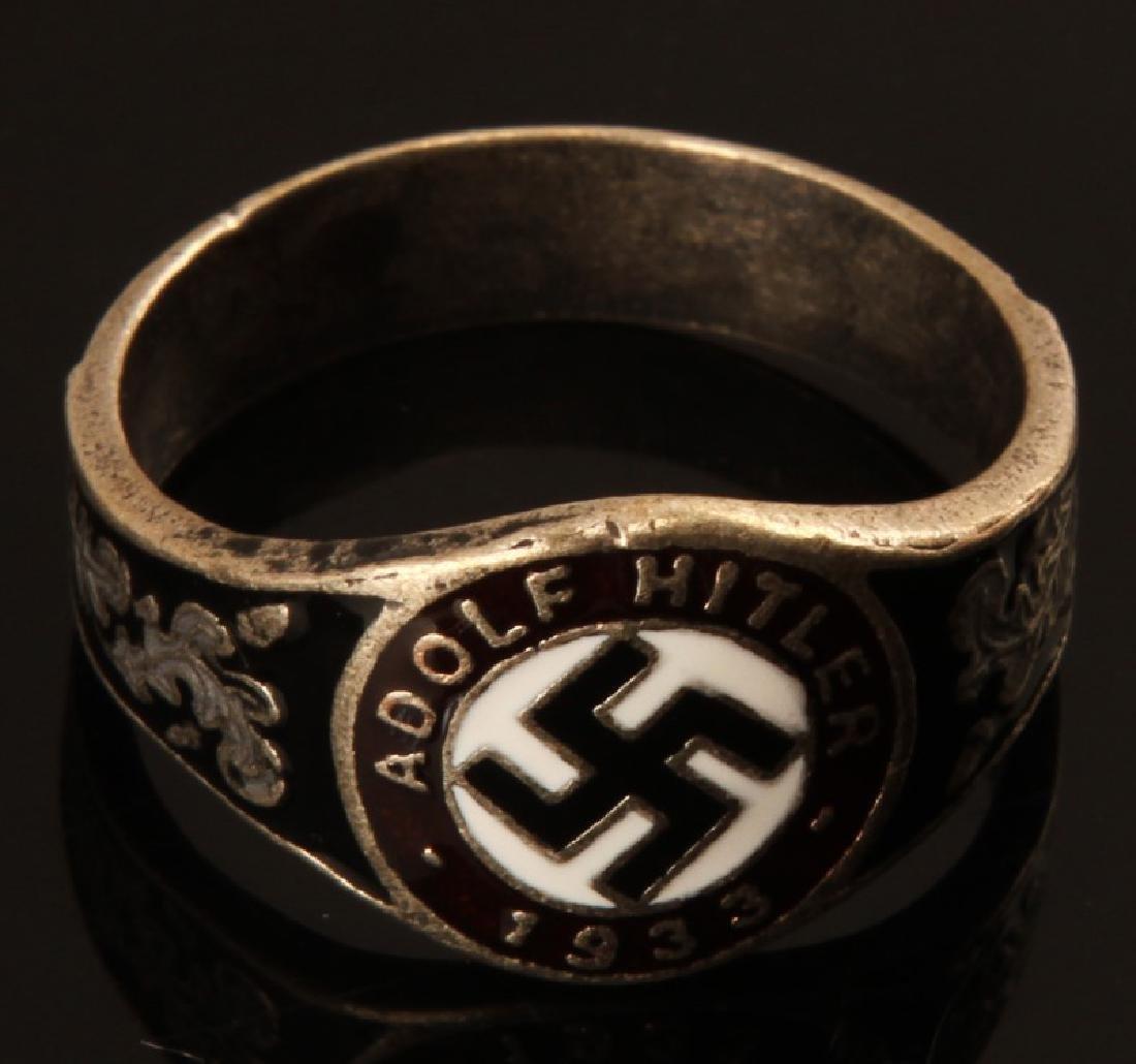GERMAN WWII THIRD REICH NSDAP HITLER SILVER RING