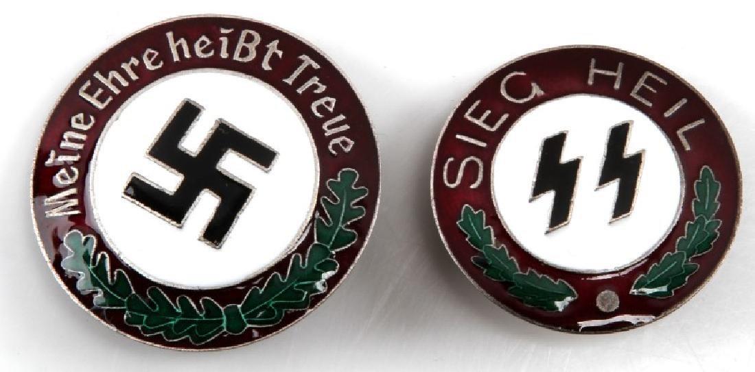 2 GERMAN WWII 3RD REICH BADGE LOT SIEG HEIL ETC