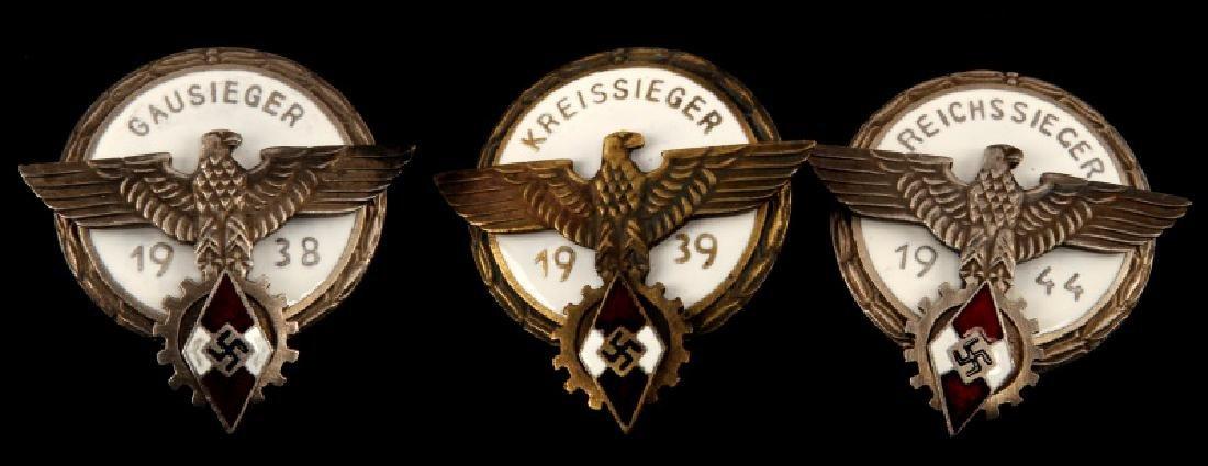 3 GERMAN WWII THIRD REICH HITLERJUGEND BADGE LOT