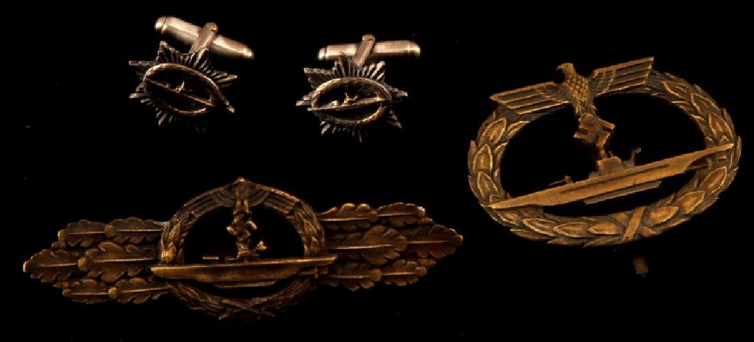 GERMAN WWII THIRD REICH U BOAT LOT BADGE CUFF LINK