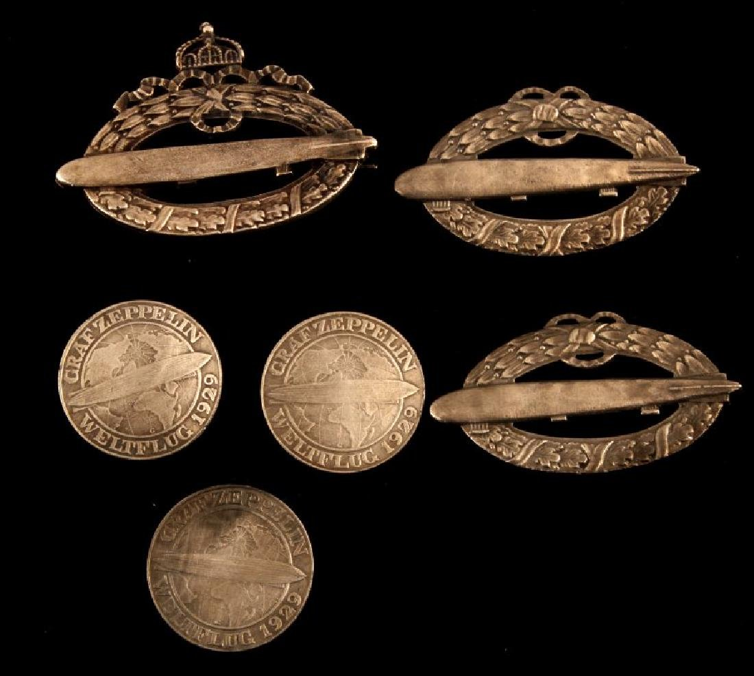 6 GERMAN ZEPPELIN ITEMS 1929 COINS WWI ARMY & NAVY