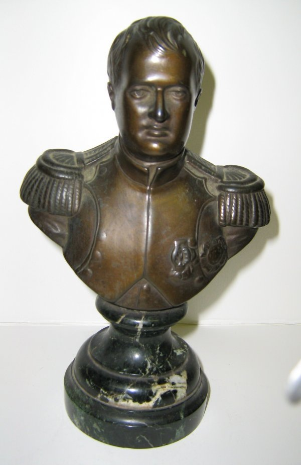 SIGNED BRONZE ON MARBLE RENAULT NAPOLEON BUST