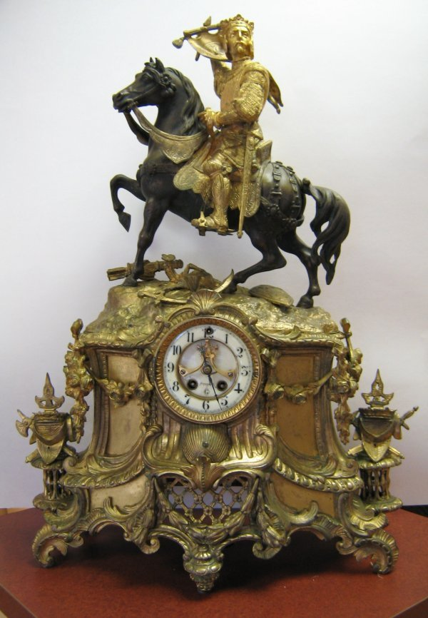 ANTIQUE GILBERT BRONZE FIGURAL CLOCK CHARLEMAGNE