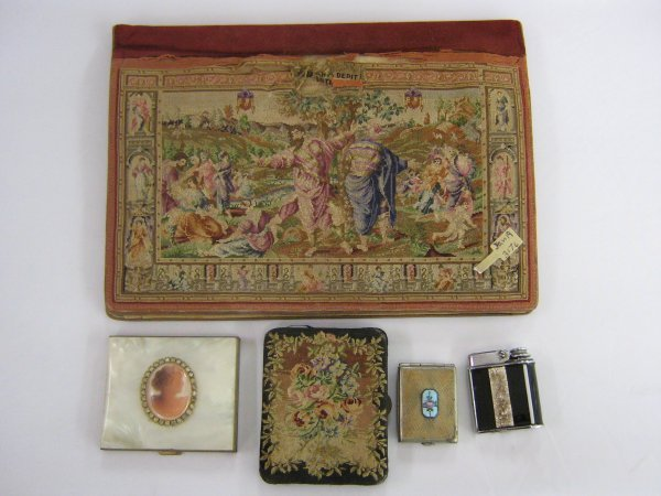 FRENCH PETIT POINT PURSE COMPACT LIGHTER LOT