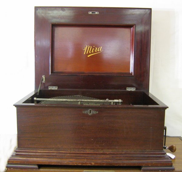 ANTIQUE MIRA DISK MUSIC BOX PLAYER COIN OPERATED
