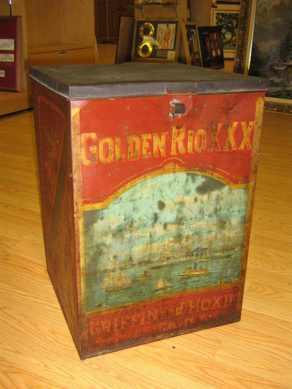 ANTIQUE TIN COFFEE BOX PAINTED PORT SCENE UTICA NY