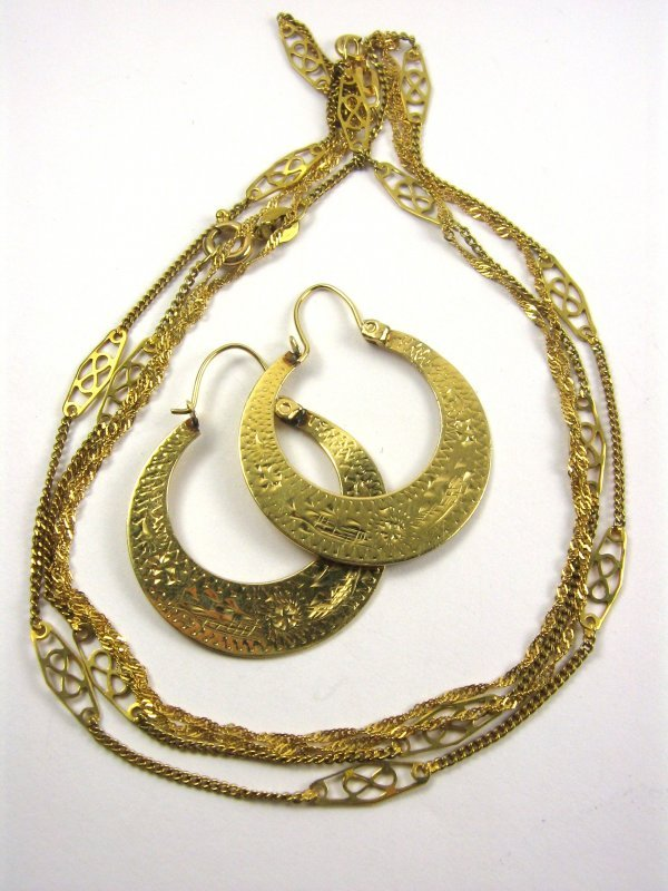 14K GOLD HAMMERED EARRINGS AND INFINITY NECKLACE