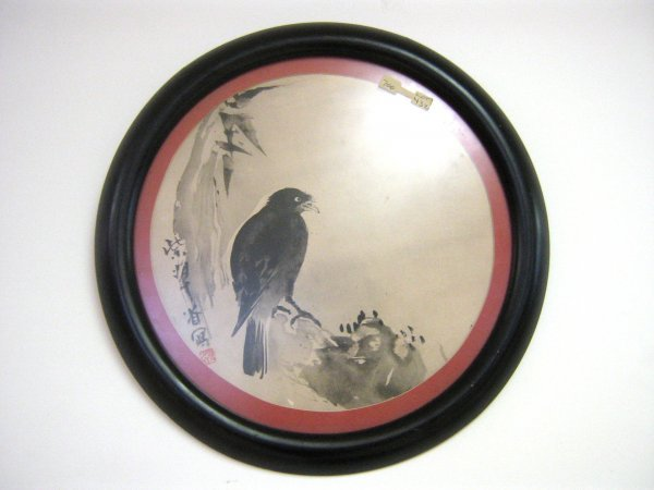 ROUND FRAMED RAVEN WATERCOLOR