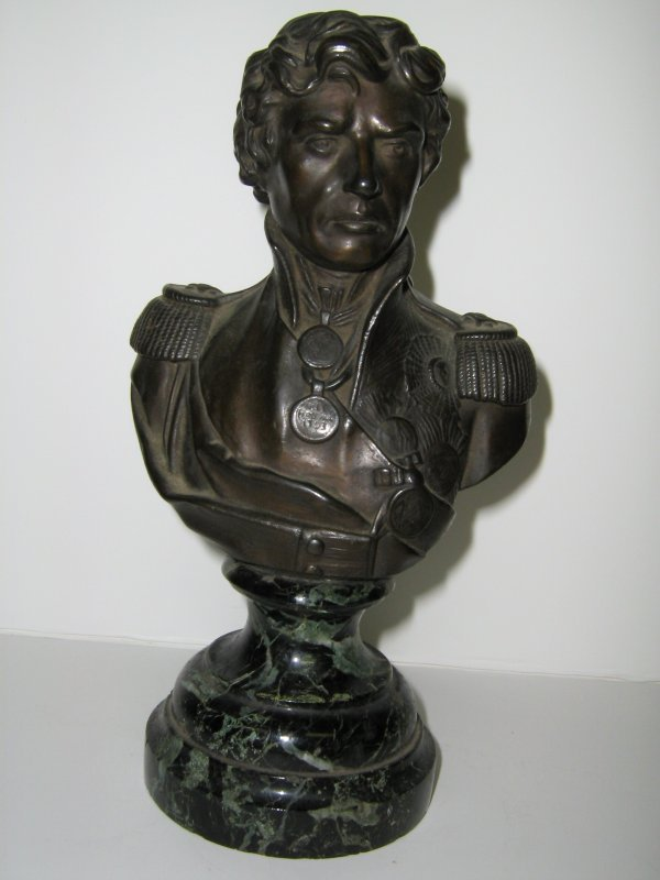 SIGNED BRONZE OF WELLINGTON MARBLE BUST BRUCCIANI