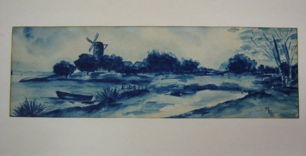 STUDY IN BLUE- WATER COLOR PAINTING BY RBS