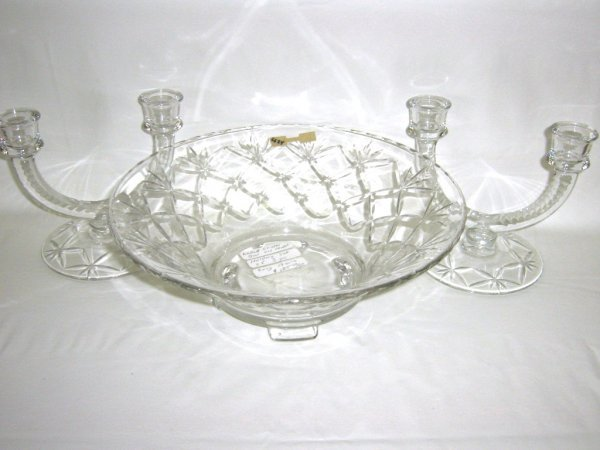 FOSTORIA CLEAR PATTERN GLASS BOWL & CANDLEHOLDERS