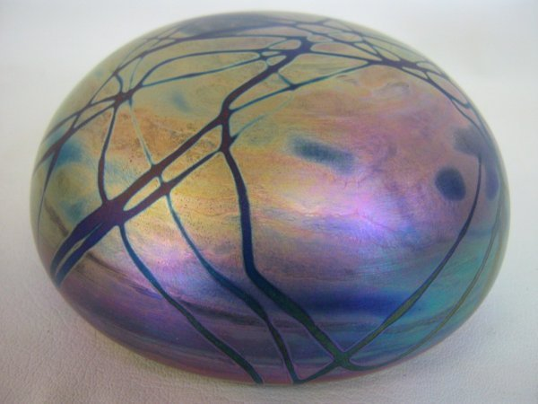 LEVAY SIGNED ART GLASS IRIDESCENT PAPERWEIGHT