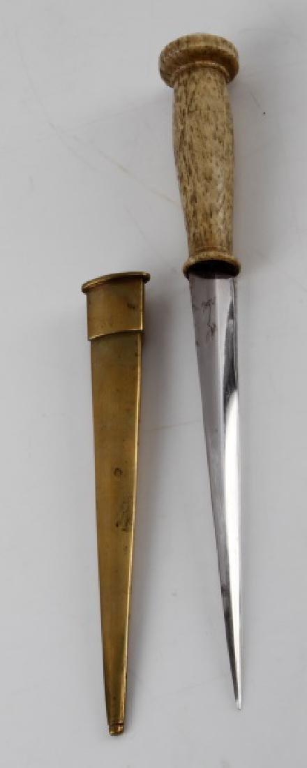 ANTIQUE 19TH CENTURY SHORT BONE HANDLE NAVAL DIRK