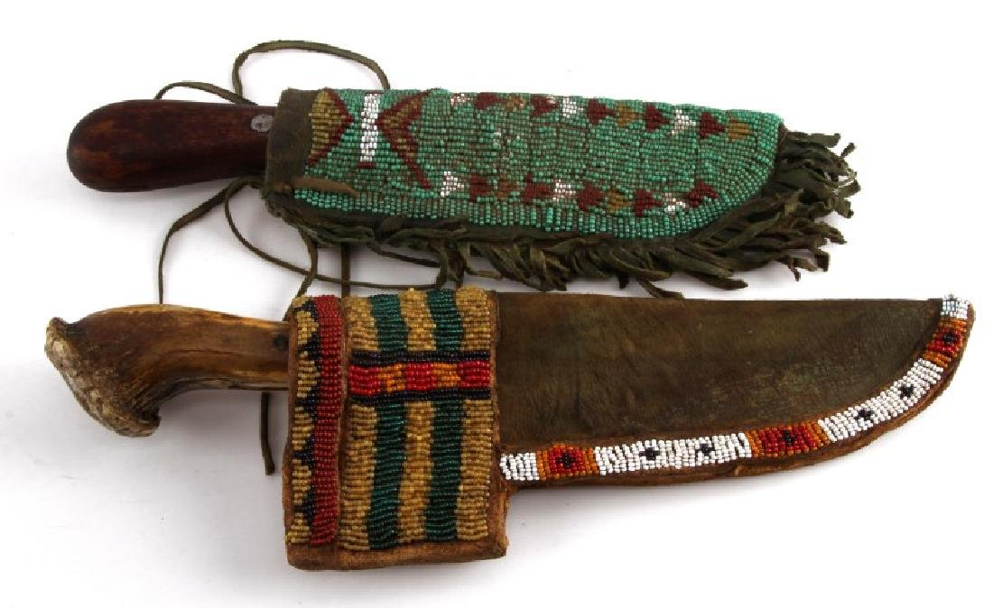 PLAINS INDIAN KNIFE AND LEATHER SCABBARD LOT OF 2