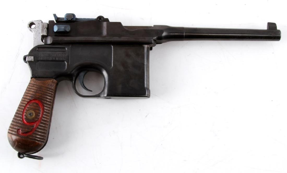 GERMAN MAUSER RED 9 C96 BROOMHANDLE PISTOL 9MM