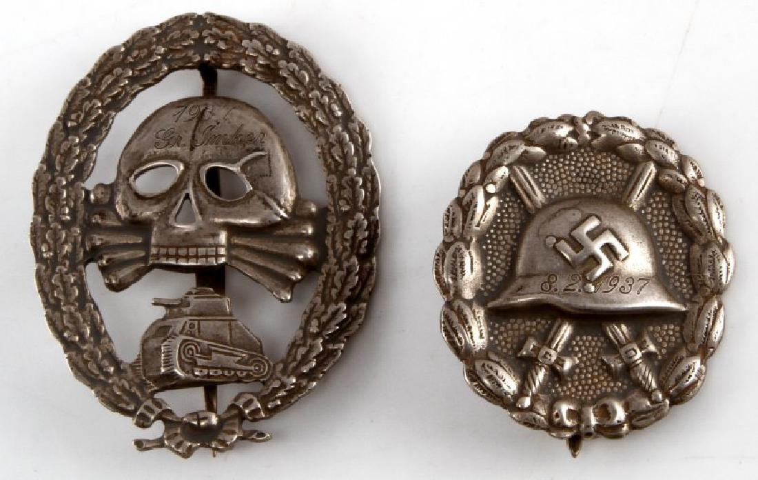 1 CONDOR LEGION SKULL BADGE W MATCHING WOUND BADGE