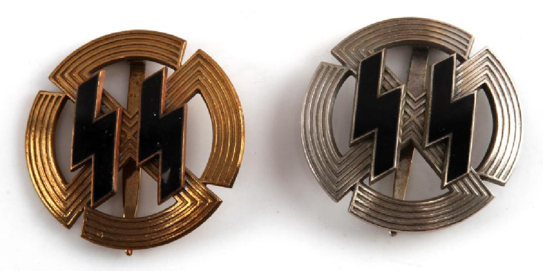 GERMAN SS PROFICIENCY RUNE BADGE SILVER & BRONZE