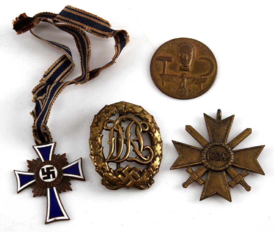 GROUP OF 4 WWII GERMAN THIRD REICH BADGES & MEDALS