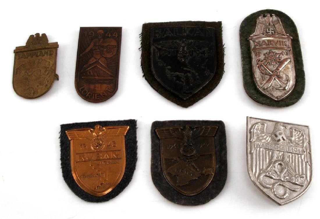 LOT OF 7 WWII GERMAN SLEEVE SHIELDS NARVIK BALKAN