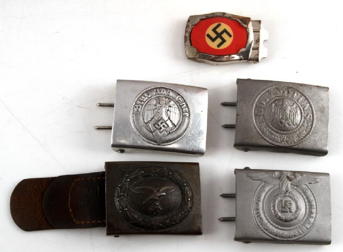 5 GERMAN WWII ALUMINUM BELT BUCKLE LOT