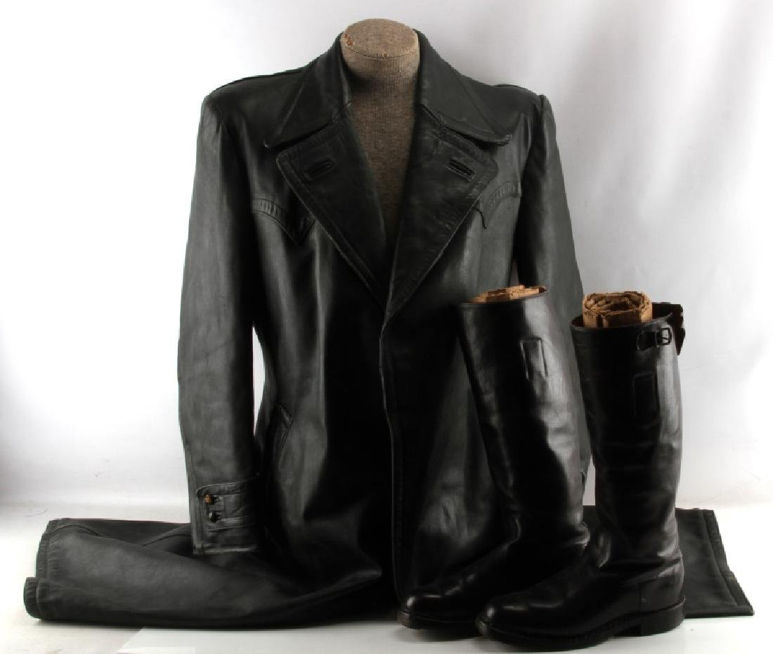 WWII GERMAN LEATHER GREAT COAT & TALL RIDING BOOTS
