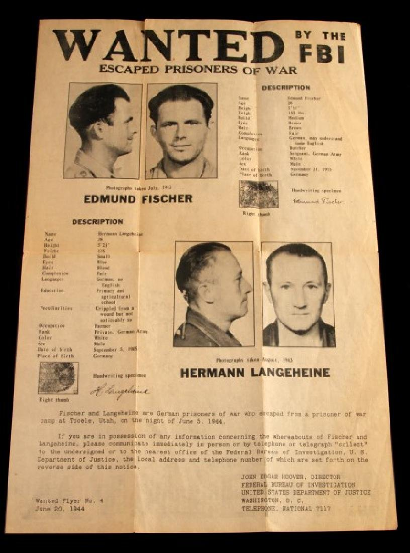 WWII US ESCAPED GERMAN PRISONER WANTED POSTER