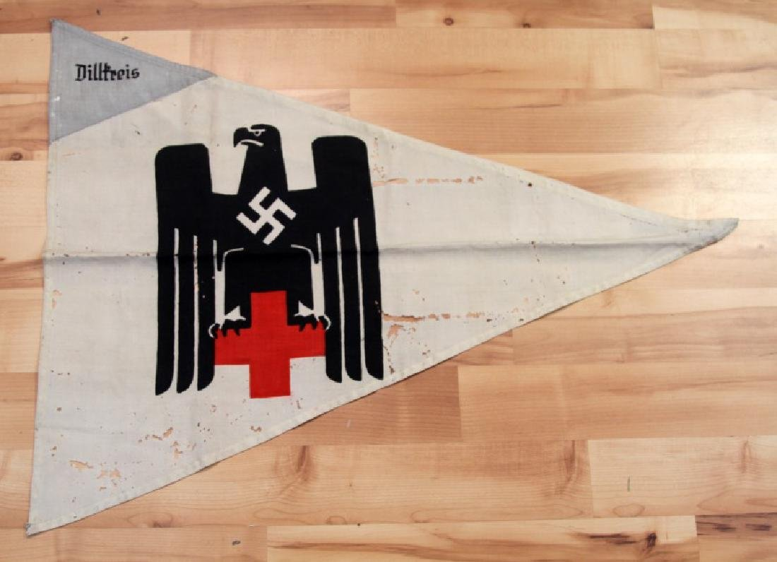 WWII GERMAN THIRD REICH RED CROSS PENNANT FLAG