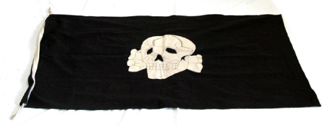 WWII GERMAN THIRD REICH BLACK SS TOTENKOPF FLAG
