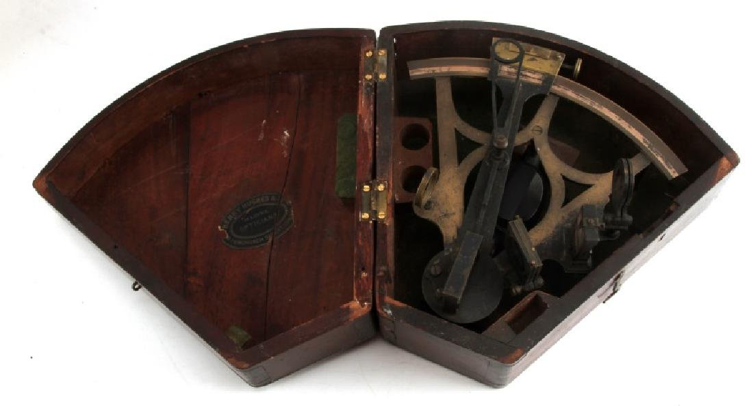ANTIQUE NAVAL NAVIGATION SEXTANT WITH WOODEN CASE