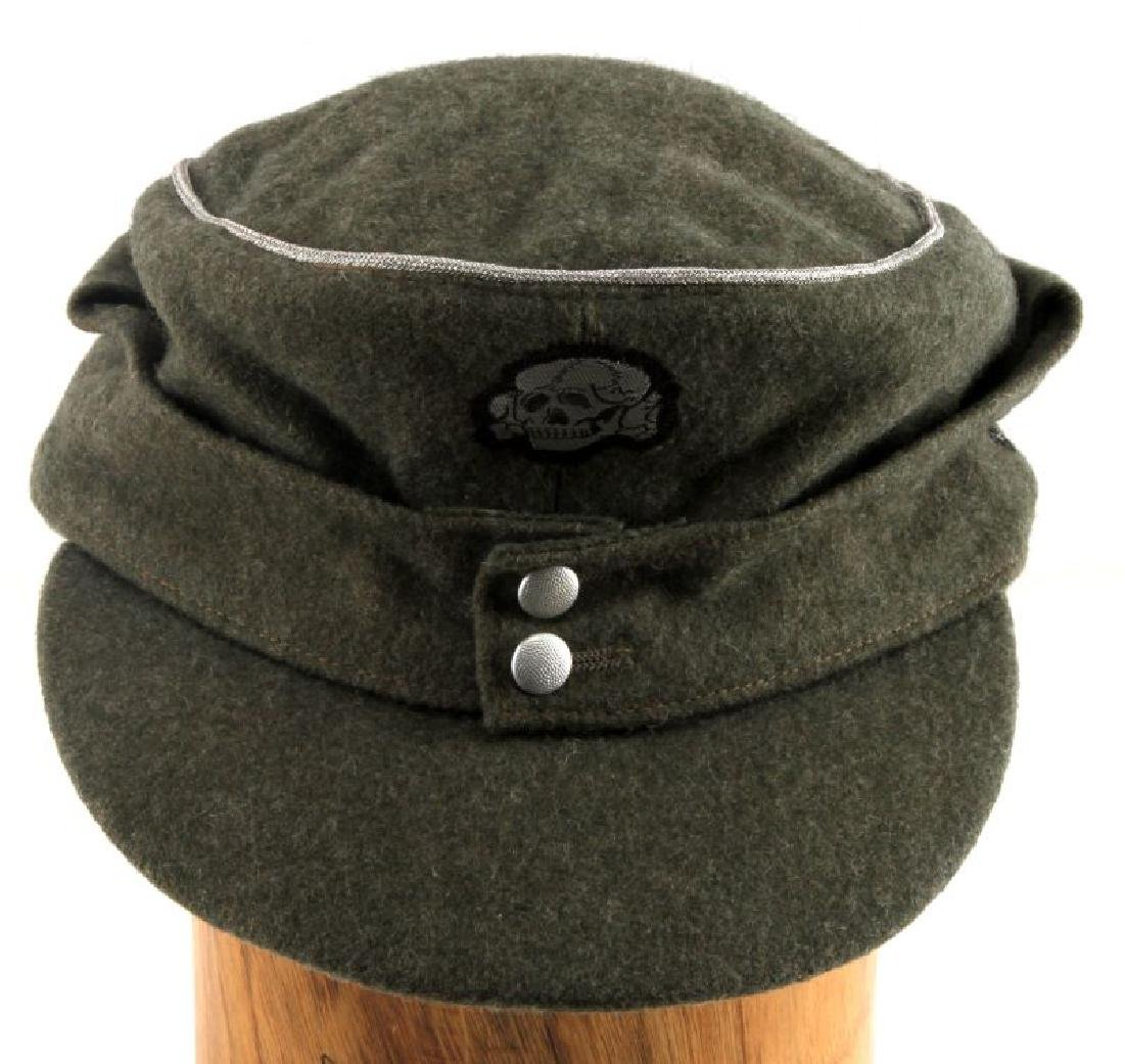 GERMAN WWII M43 WAFFEN SS OFFICER CAP DOUBLE INSIG