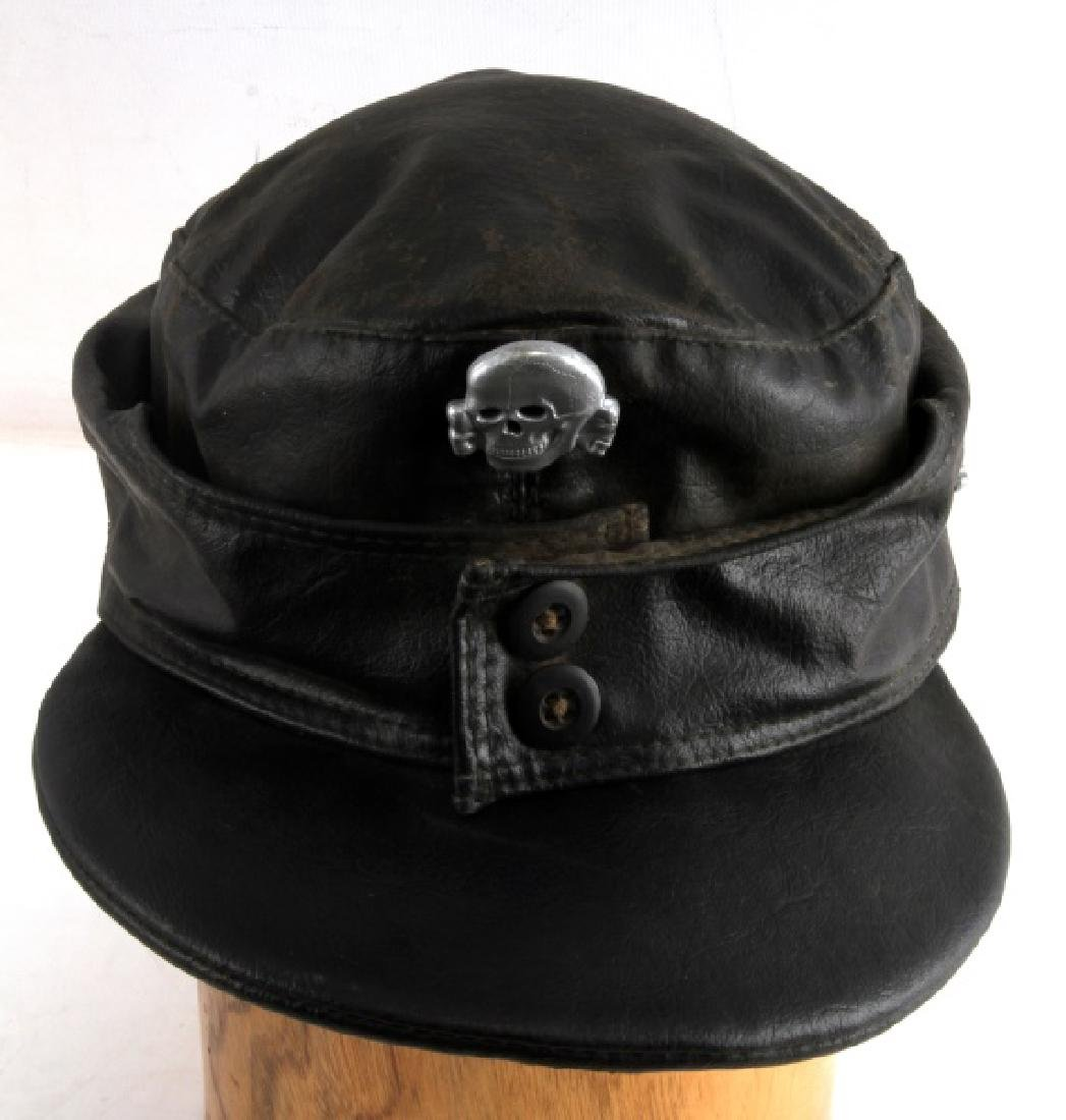 GERMAN WWII WAFFEN SS PANZER BLACK LEATHER M43 CAP