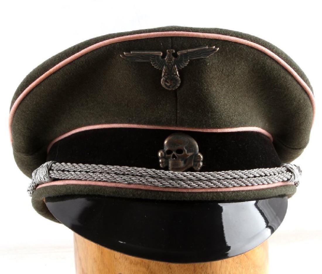 WWII GERMAN 3RD REICH WAFFEN SS PANZER OFFICER CAP