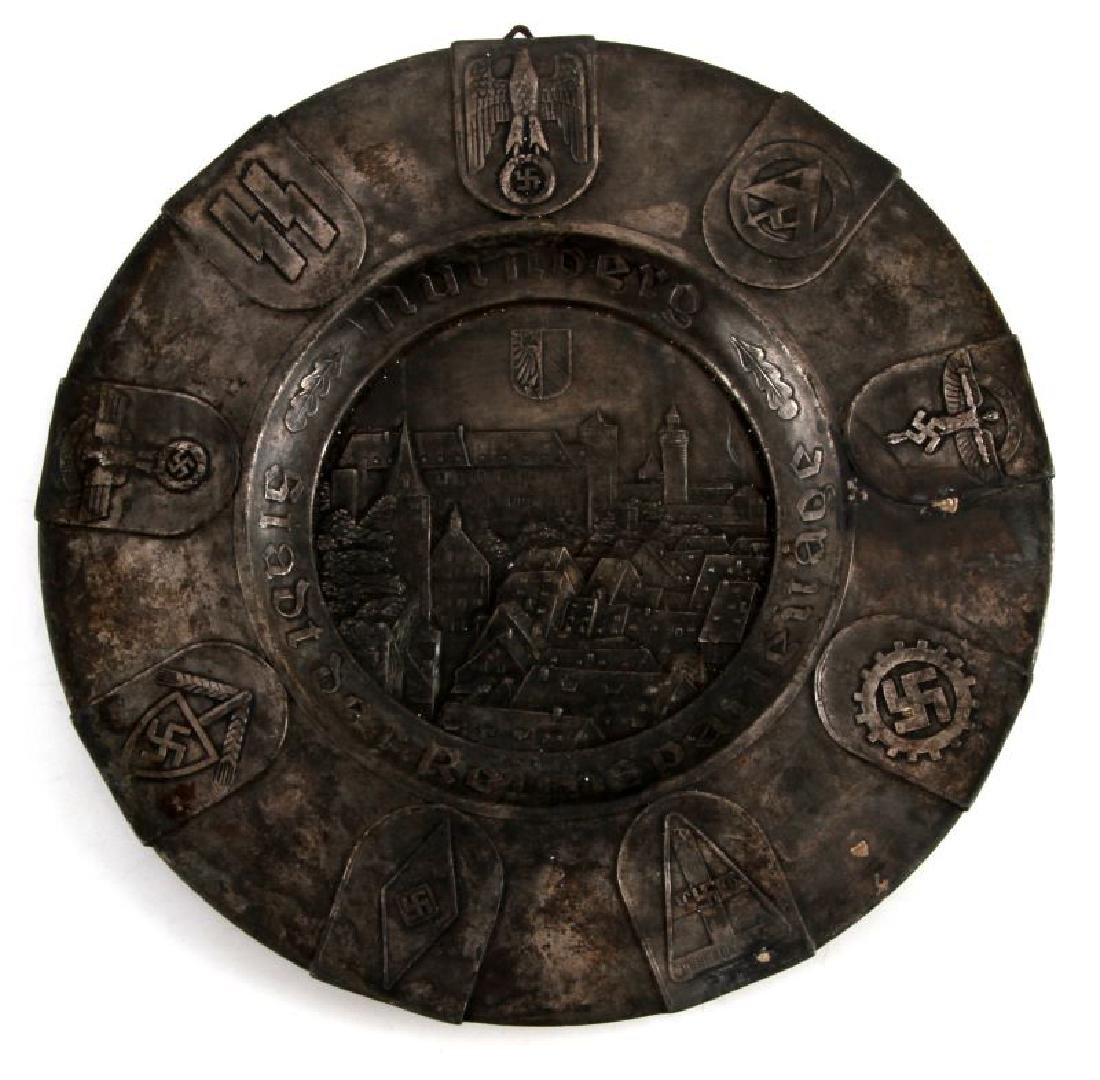 WWII GERMAN NUREMBERG PEWTER PLATE IN RELIEF