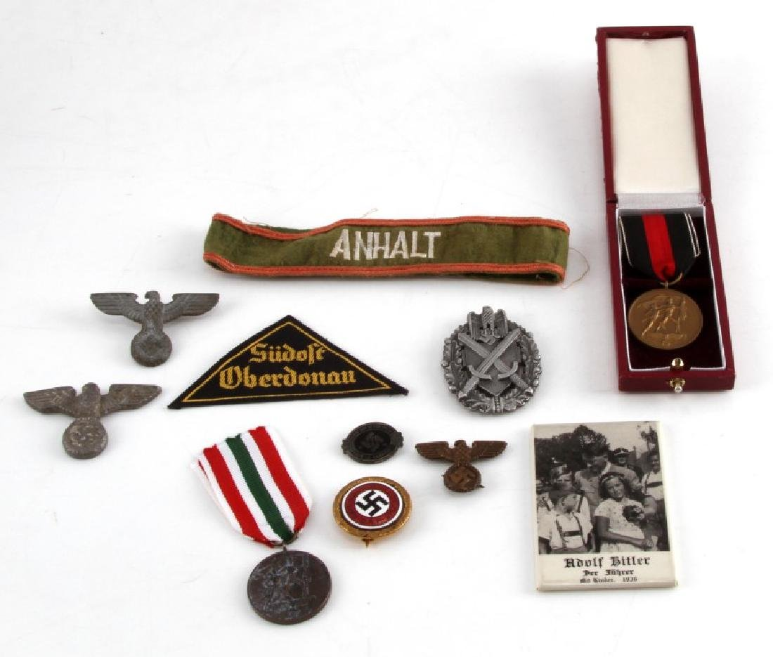 DIVERSE LOT GERMAN WWII PINS CAP EAGLES MEDALS TIN
