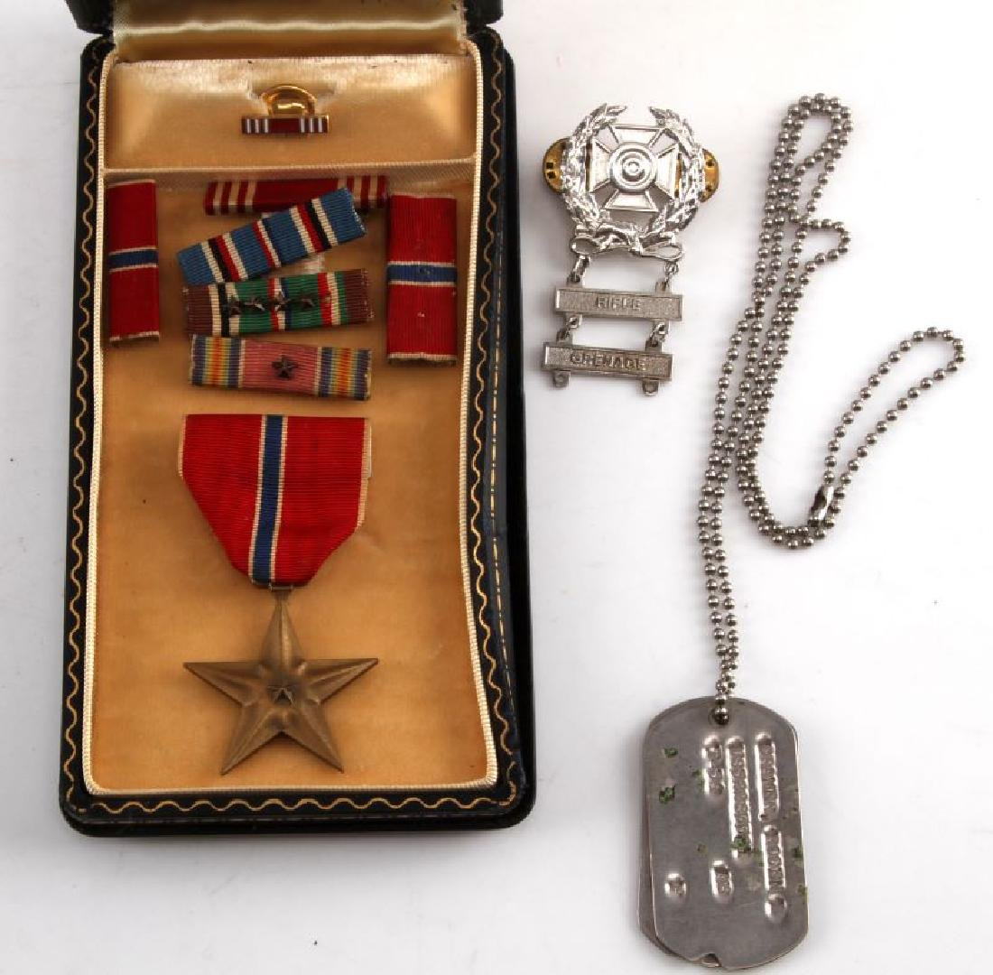 WWII NAMED BRONZE STAR MEDAL IN CASE WITH EXTRAS