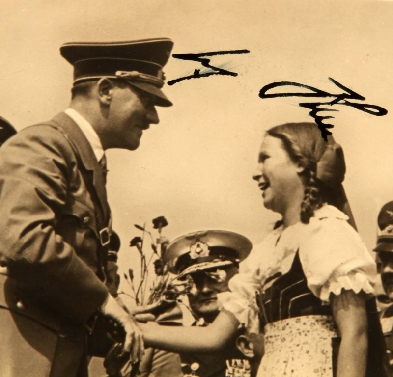 PAIR OF WWII GERMAN FUHRER SIGNED HITLER PHOTOS - 2